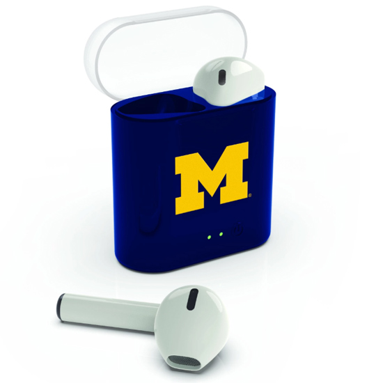 Prime Brands University of Michigan Bluetooth True Wireless Earbuds with Charging Case