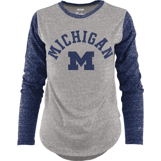 Pressbox University of Michigan Women's Gray/Navy Triblend Long Sleeve Tee