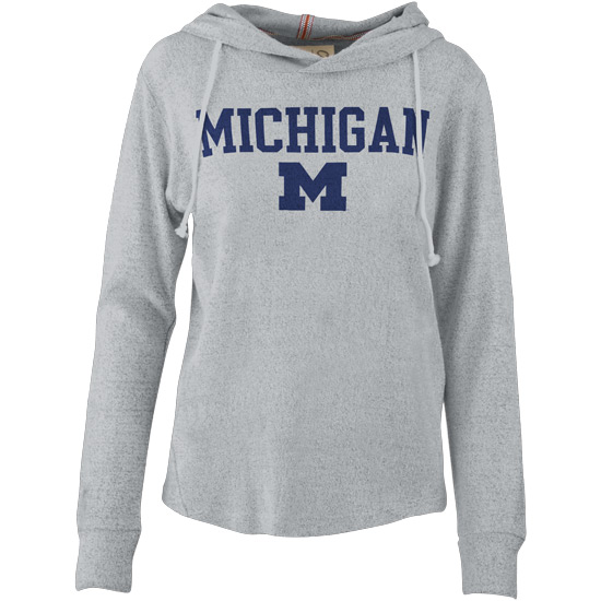 Pressbox University of Michigan Women's Heather Gray Cuddle Knit Hooded Sweatshirt