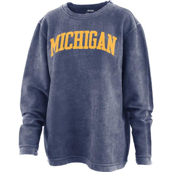 Pressbox University of Michigan Women's Navy Comfy Corduroy Crewneck Sweatshirt