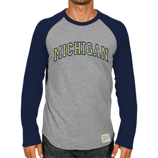 Retro Brand University of Michigan Long Sleeve Baseball Raglan Tee