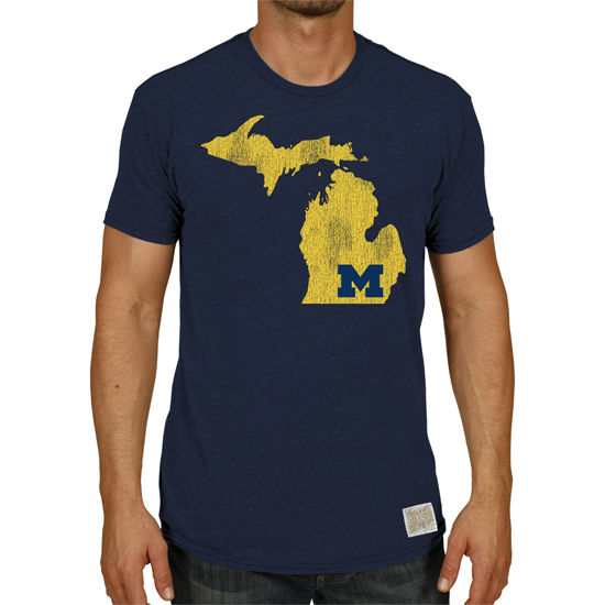 Retro Brand University of Michigan Navy Triblend State of Michigan Tee