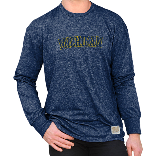 d183365641cc37 Retro Brand University of Michigan Heather Navy Mock Twist Long Sleeve Tee.  Product Thumbnail Product Thumbnail