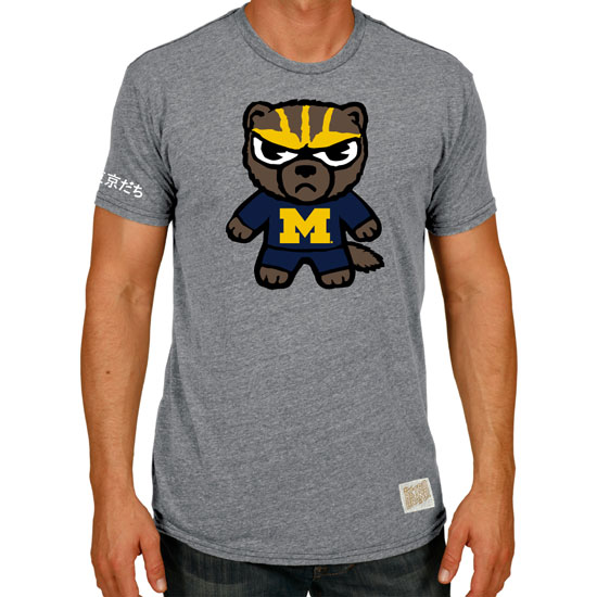 Retro Brand University of Michigan Gray Tokyodachi Triblend Tee