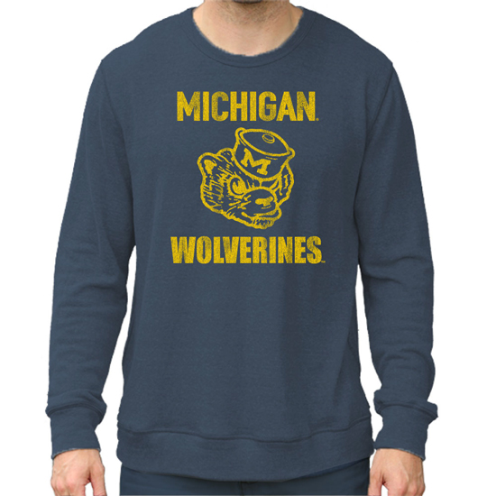 Retro Brand University of Michigan Heather Navy Haachi College Vault Crewneck Sweatshirt