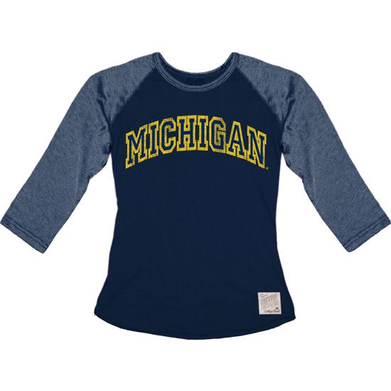 Retro Brand University of Michigan Ladies Gray/Navy Raglan Baseball Tee