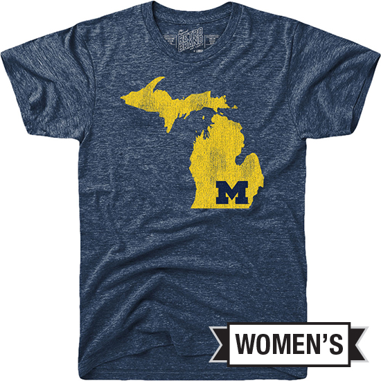 Retro Brand University of Michigan Women's Navy Triblend State of Michigan Tee