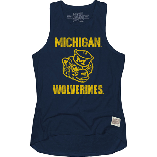 Retro Brand University of Michigan Women's Navy College Vault Wolverine Racerback Tank Top