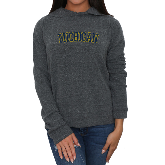 Retro Brand University of Michigan Women's Charcoal Heather Gray Haachi Hooded Sweatshirt