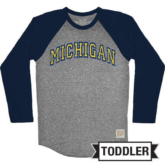 Retro Brand University of Michigan Toddler Long Sleeve Gray/Navy Baseball Raglan Tee