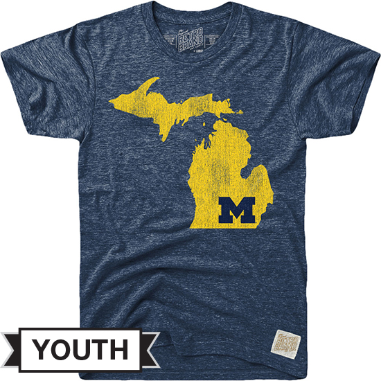 Retro Brand University of Michigan Youth Navy Triblend State of Michigan Tee
