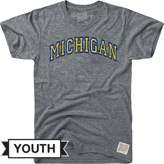 Retro Brand University of Michigan Youth Heather Gray Streaky Tee
