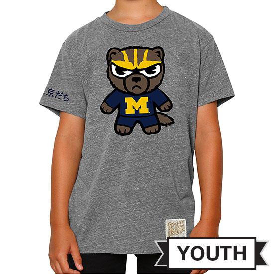 Retro Brand University of Michigan Youth Gray Tokyodachi Triblend Tee