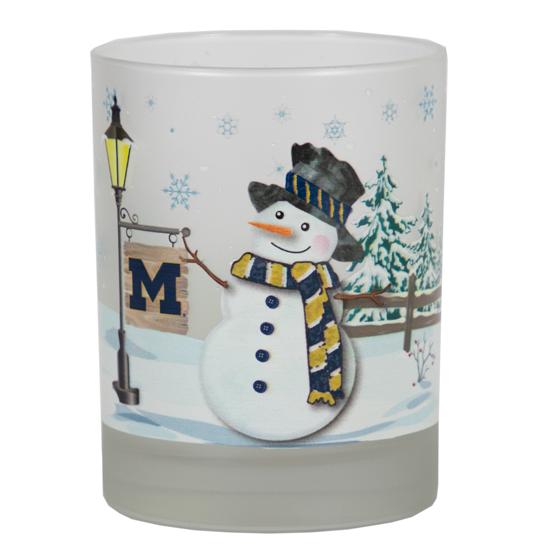 RFSJ University of Michigan Snowman Holiday Rocks Glass