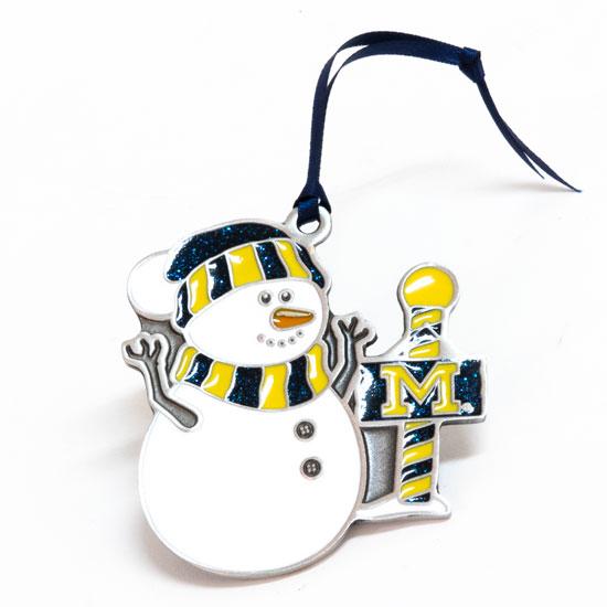 - RFSJ University Of Michigan Pewter Glitter Fill Snowman Ornament