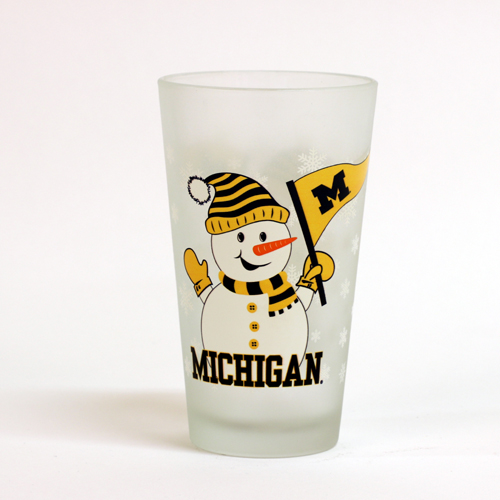 RFSJ University of Michigan Frosted Snowman Pint Glass