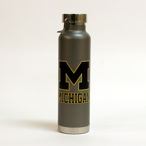 RFSJ University of Michigan 22oz. Gray Powder Coated Water Bottle with Handle