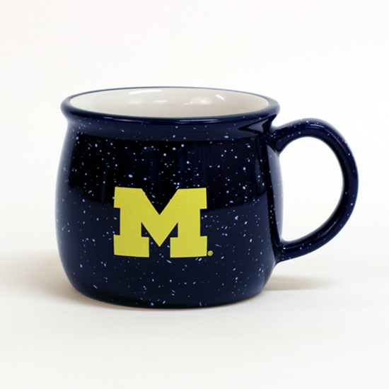 RFSJ University of Michigan Cobalt Navy Blue Speckled Colonial Mug