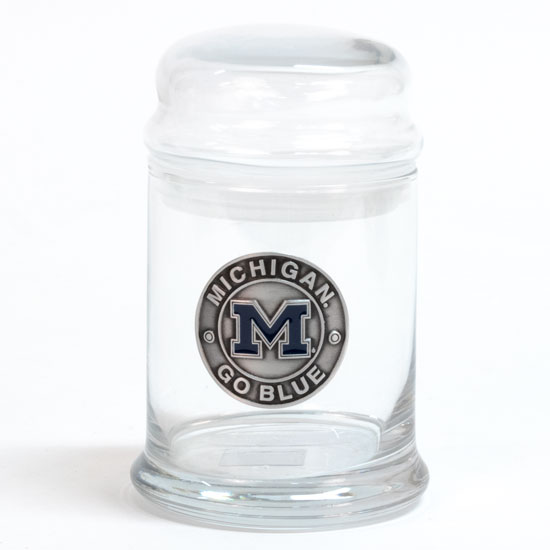 RFSJ University of Michigan Glass Candy Jar with Pewter Emblem