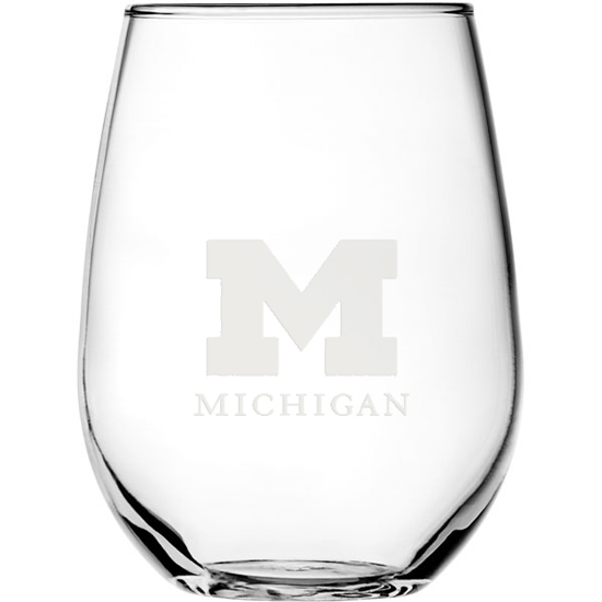 RFSJ University of Michigan Stemless White Wine Glass