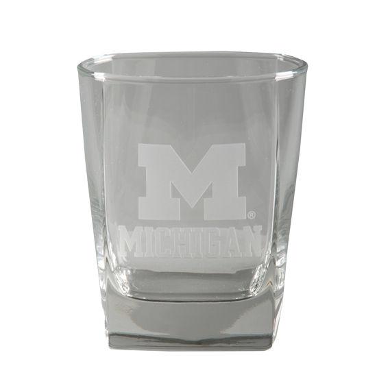 RFSJ University of Michigan Etched Rocks Glass