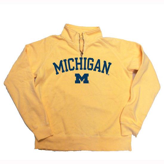 Blue84 University of Michigan Ladies Butter 1/4 Zip Sweatshirt Distressed Lettering