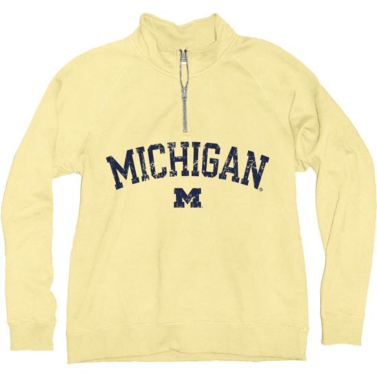 Blue84 University of Michigan Women's Butter Yellow 1/4 Zip Sweatshirt