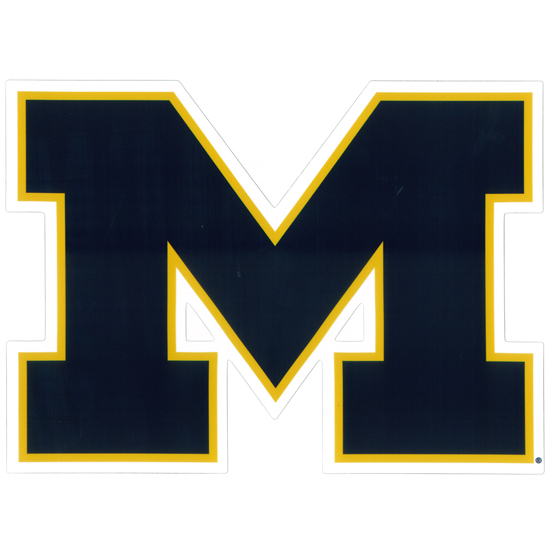 SDS University of Michigan 12'' Navy Block ''M'' Logo Ultra Durable Dizzlers Decal