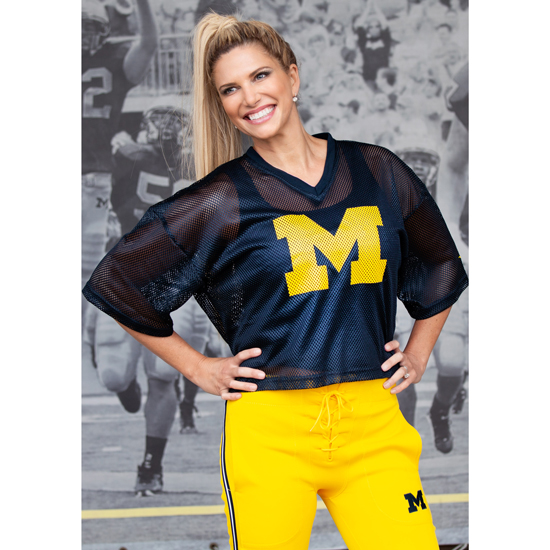 Sarah Harbaugh Collection by Valiant University of Michigan Navy Mesh Shimmel Jersey Top