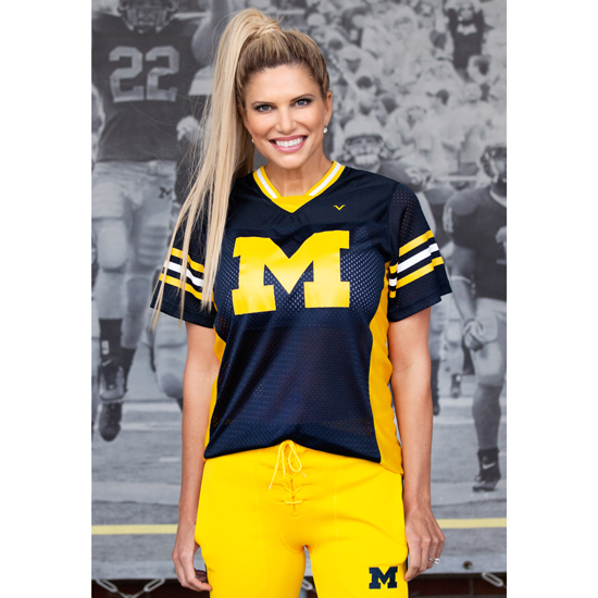 Sarah Harbaugh Collection by Valiant University of Michigan Navy Mesh Practice Jersey
