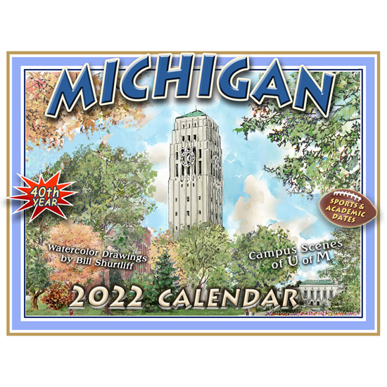 U Of M Calendar 2019 Bill Shurtliff University of Michigan Campus Scenes Sketches 2019