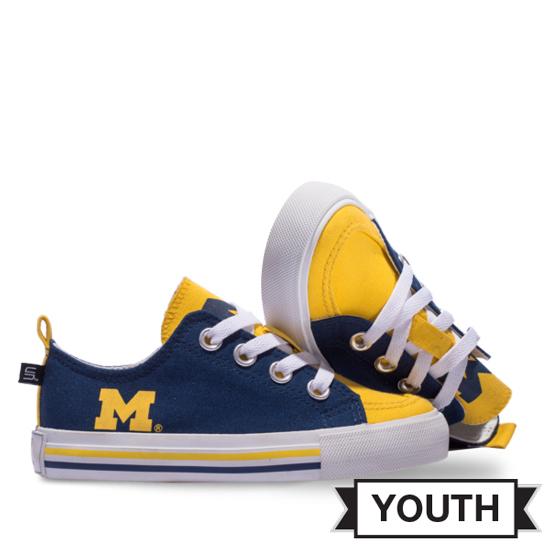 Skicks University of Michigan Youth Colorblock Low-Top Sneakers