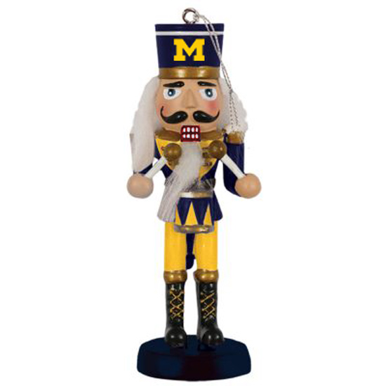 Spirit Products University of Michigan Nutcracker Drummer Ornament