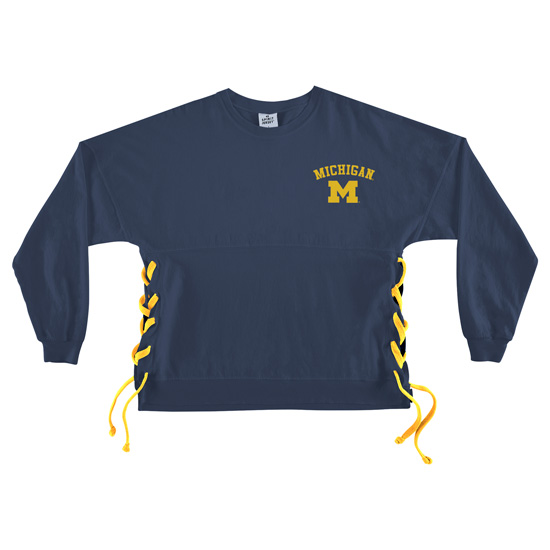 Spirit Jersey University of Michigan Women's Side Tie Lace-Up Spirit Jersey