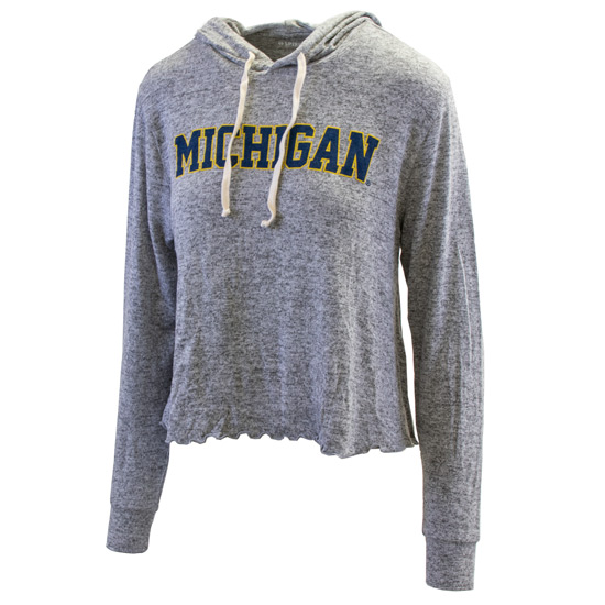 Spirit Jersey University of Michigan Women's Heather Gray Hooded Long Sleeve Crop Top