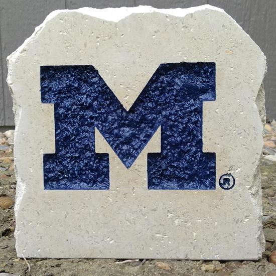 Stoneworx University of Michigan Small Block ''M'' Desk Stone