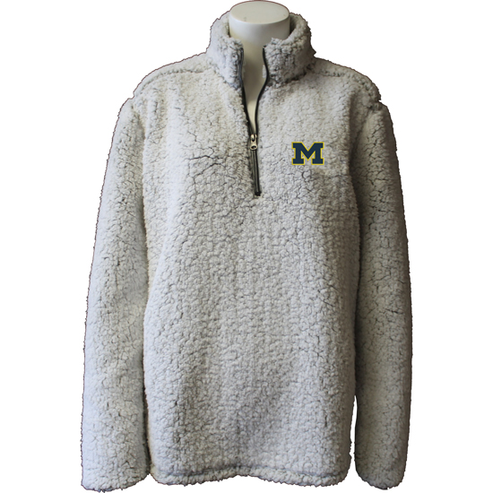 Summit University of Michigan Women's Putty Sherpa 1/4 Zip Pullover