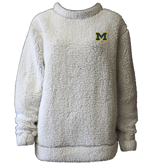 Summit University of Michigan Women's Putty Sherpa Crewneck Sweatshirt