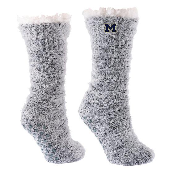 TCK University of Michigan Snow Christie Sherpa Lined Cozy Slipper Socks