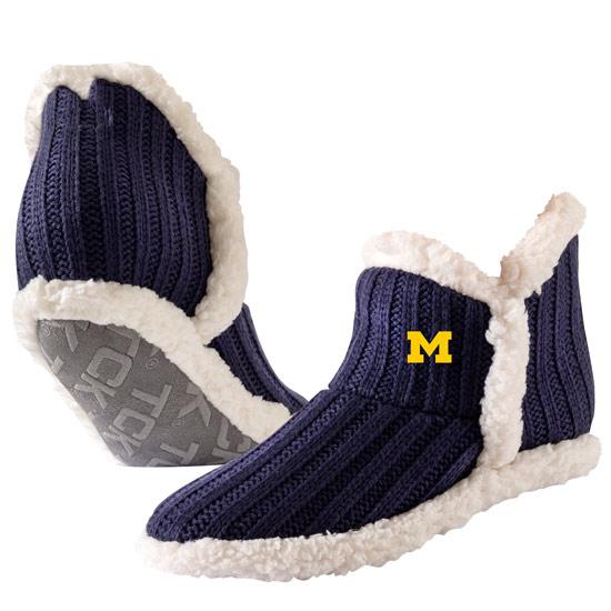 TCK University of Michigan Navy Aspenglow Cozy Sherpa Slipper Socks