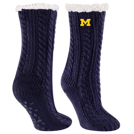 TCK University of Michigan Navy Miss Chalet Cable Knit Sherpa Lined Cozy Slipper Socks