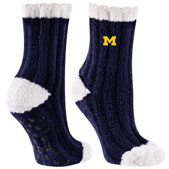TCK University of Michigan Warm Fuzzy Cozy Crew Socks