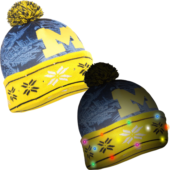 2bc5946d353e Forever Collectibles University of Michigan Light Up Cuffed Knit Hat