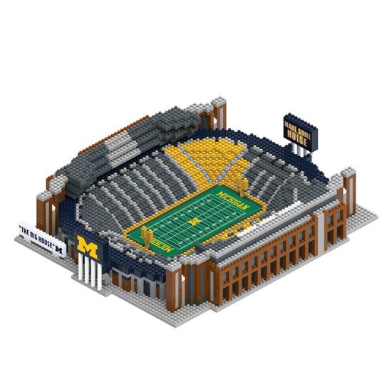 Forever Collectibles University of Michigan Football BRXLZ Large 3D Michigan Stadium Building Block Set