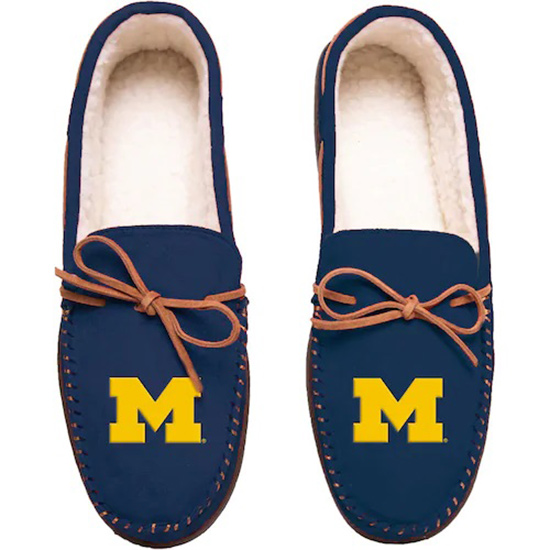 Forever Collectibles University of Michigan Navy Moccasin Slippers