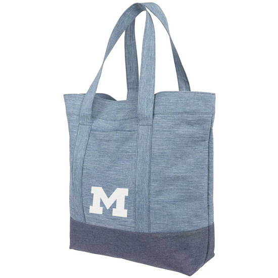 Forever Collectibles University of Michigan Chambray Mural Tote Bag
