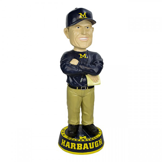 Forever Collectibles University of Michigan 36 Inch Jim Harbaugh Bobblehead