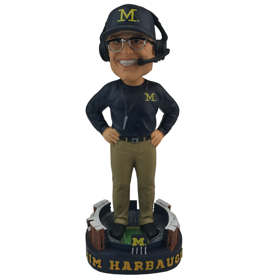Forever Collectibles University of Michigan Football Jim Harbaugh Bobblehead- 2017 Edition