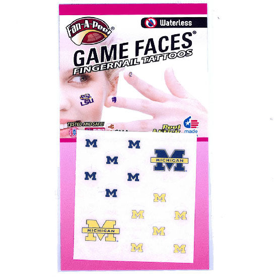 Game Faces University of Michigan Temporary Fingernail Decals