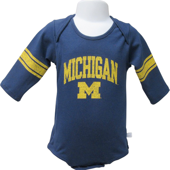Third Street University of Michigan Infant Navy Long Sleeve Onesie